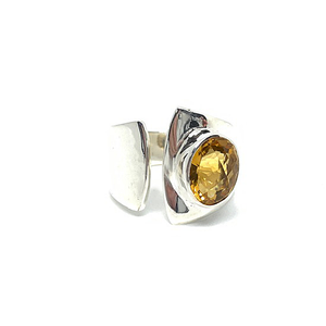 sterling silver yellow citrine gemstone bohemian style ring