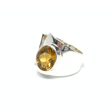 Load image into Gallery viewer, sterling silver yellow citrine gemstone bohemian style ring