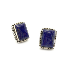 Load image into Gallery viewer, lapis lazuli rectangle sterling silver stud earrings