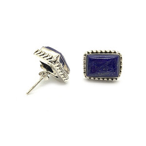 lapis lazuli rectangle sterling silver stud earrings