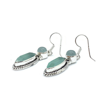 Load image into Gallery viewer, aquamarine sterling silver drop earrings