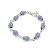 Load image into Gallery viewer, lilac crazy lace agate sterling silver bangle bracelet