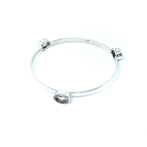 Clear Quartz Gemstone Bangle Sterling Silver - Quirky Pieces