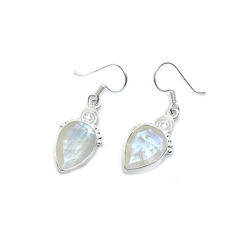moonstone gemstone drop sterling silver earrings