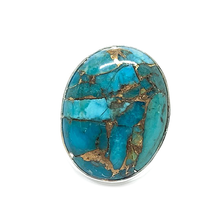 Load image into Gallery viewer, copper turquoise oval sterling silver ring