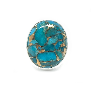 copper turquoise oval sterling silver ring