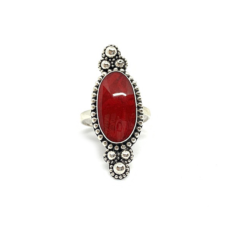 coral boho style sterling silver ring