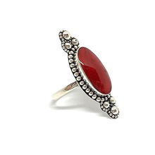 Load image into Gallery viewer, coral boho style sterling silver ring