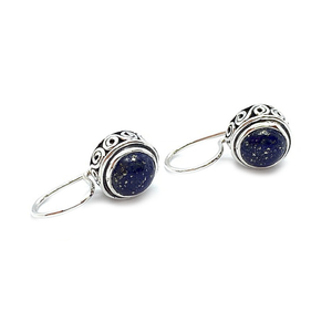 lapis lazuli drop gemstone silver earrings