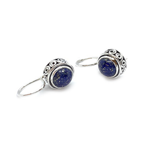 Load image into Gallery viewer, lapis lazuli drop gemstone silver earrings