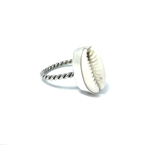 silver cowrie shell boho ring