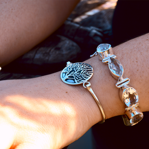 sterling silver tree of life boho bangle
