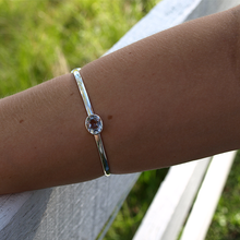 Load image into Gallery viewer, Clear Quartz Gemstone Bangle Sterling Silver - Stoned Hilda Discover the soul of Gemstones