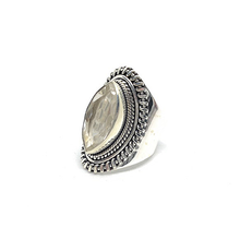 Load image into Gallery viewer, diamond shape silver clear quartz gypsy style ring