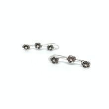 Load image into Gallery viewer, sterling silver flower ear crawler earrings