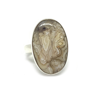 crazy lace agate bohemian gypsy style sterling silver oval ring