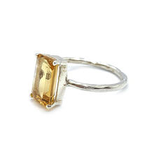 Load image into Gallery viewer, citrine emerald cut gemstone silver ring