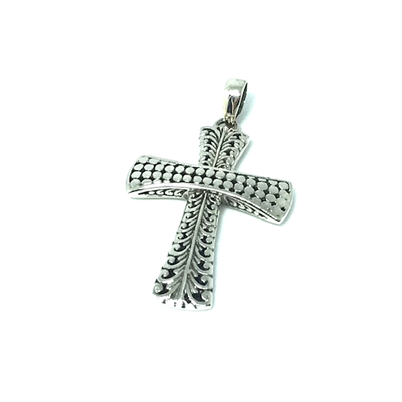 tribal cross silver pendant
