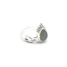 Load image into Gallery viewer, labradorite boho gemstone silver crown ring