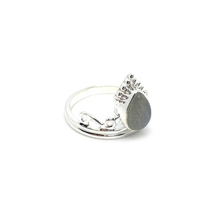 labradorite boho gemstone silver crown ring