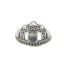 Load image into Gallery viewer, silver blue topaz gypsy style ring crown
