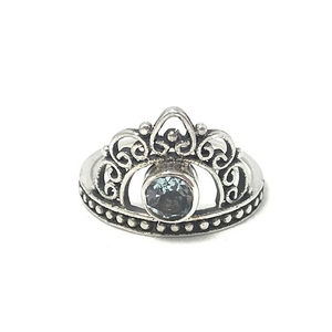 silver blue topaz gypsy style ring crown