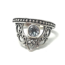 Load image into Gallery viewer, crown silver blue topaz ring