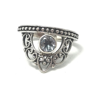 crown silver blue topaz ring