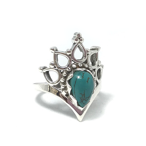 silver turquoise crown ring