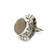 Load image into Gallery viewer, statement rose quartz sterling silver gypsy style ring