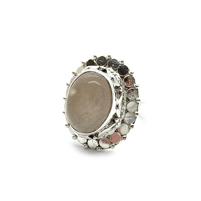 statement rose quartz sterling silver gypsy style ring