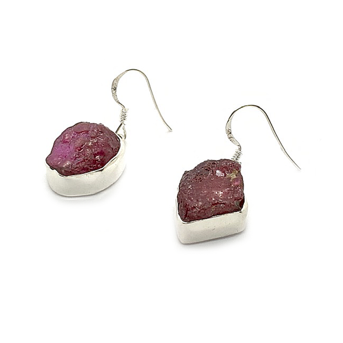 raw ruby gemstone sterling silver drop earrings