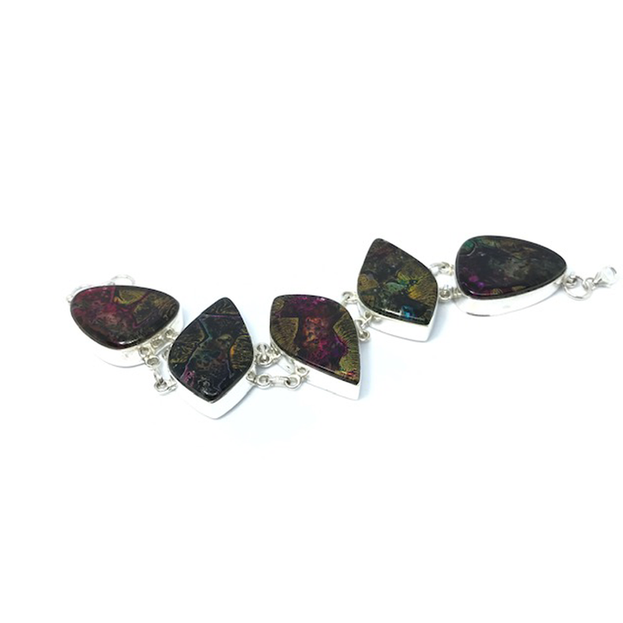 Dichroic Glass Silver Brown Bracelet Sterling Silver - Stoned Hilda Discover the soul of Gemstones