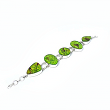Load image into Gallery viewer, Dichroic Glass Silver Lime Bracelet Sterling Silver - Stoned Hilda Discover the soul of Gemstones