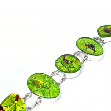Load image into Gallery viewer, Dichroic Glass Silver Lime Bracelet Sterling Silver - Quirky Pieces