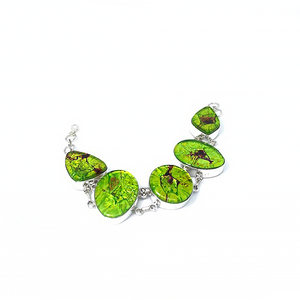 Dichroic Glass Silver Lime Bracelet Sterling Silver - Stoned Hilda Discover the soul of Gemstones