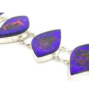 Dichroic Glass Silver Purple Bracelet Sterling Silver - Stoned Hilda Discover the soul of Gemstones