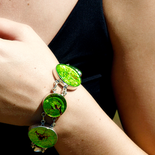 Load image into Gallery viewer, dichroic glass bangle bracelet lime green