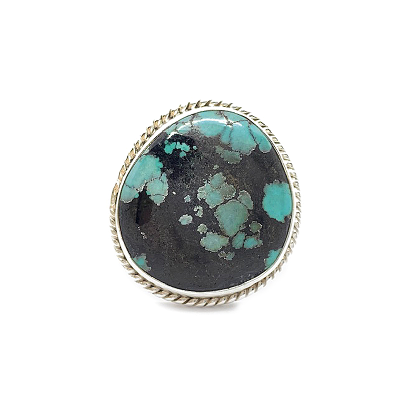 turquoise gemstone boho gypsy style sterling silver ring