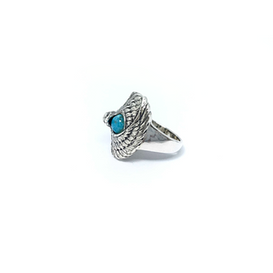 Turquoise Oxidized Eagle Ring Sterling Silver - Quirky Pieces