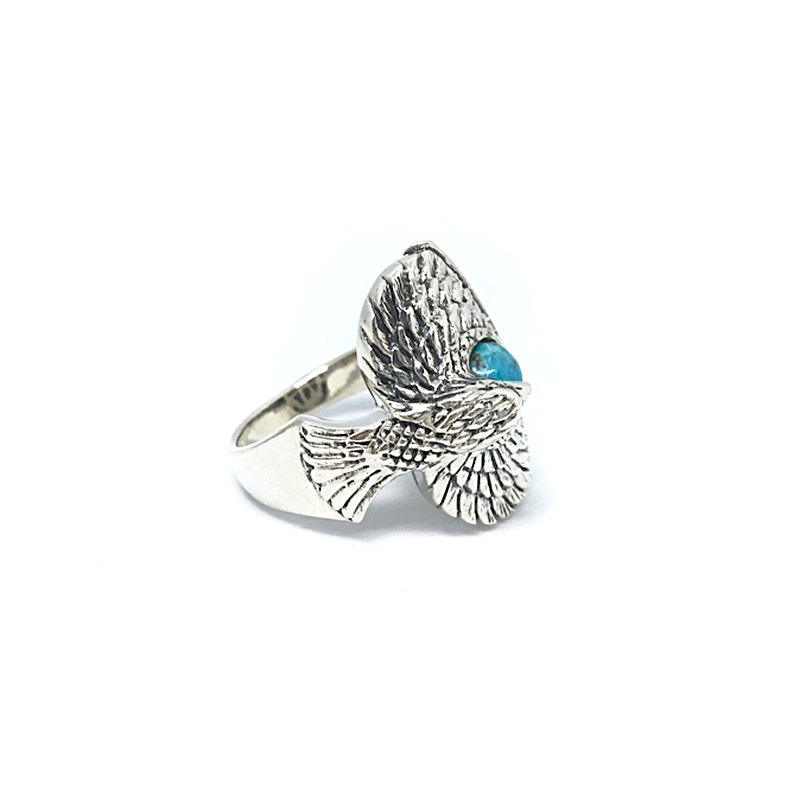 Turquoise Oxidized Eagle Ring Sterling Silver - Stoned Hilda Discover the soul of Gemstones
