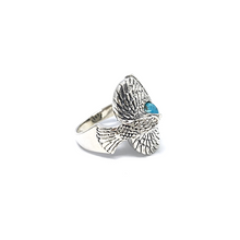Load image into Gallery viewer, Turquoise Oxidized Eagle Ring Sterling Silver - Quirky Pieces
