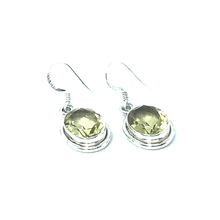 Load image into Gallery viewer, Lemon Quartz Oval Earrings Set In Sterling Silver - Stoned Hilda Discover the soul of Gemstones
