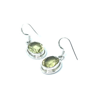 Lemon Quartz Oval Earrings Set In Sterling Silver - Quirky Pieces