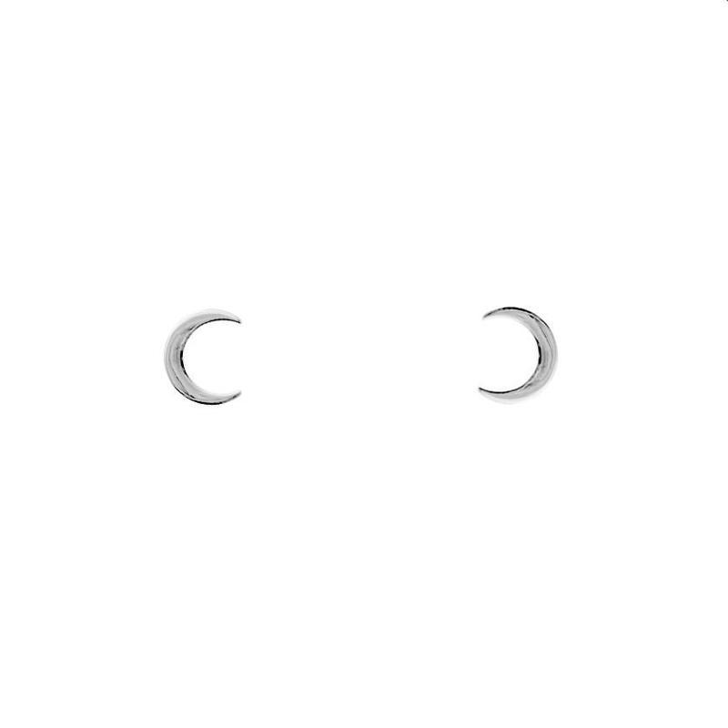 sterling silver half moon stud earrings