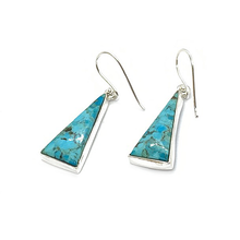 Load image into Gallery viewer, turquoise triangle boho style silver earrings