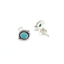 Load image into Gallery viewer, turquoise boho style silver gemstone stud earrings