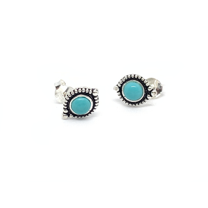 turquoise boho style silver gemstone stud earrings