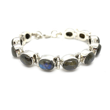 Load image into Gallery viewer, labradorite sterling silver gemstone bracelet