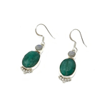 emerald quartz moonstone silver gemstone earrings